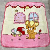 Красивое, яркое, теплое детское одеяло-плед с веселыми героями мультфильмов, розового цвета