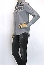 Жіноча сіра сорочка з фланелі з вишивкою, фото 3