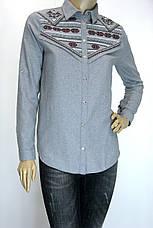 Жіноча сіра сорочка з фланелі з вишивкою, фото 2