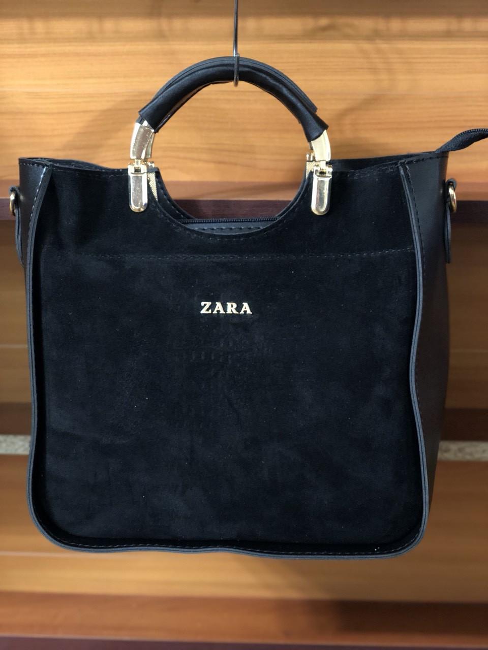 952e600fc50b Сумка женская черного цвета из эко-кожи с натуральным замшей - Оптово-розничный  магазин