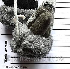 Детские шерстяные варежки на меху унисекс с веревочкой - длина 12 см, фото 3