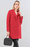 Женское утепленное пальто красного цвета. Модель 19562, размеры 42-48