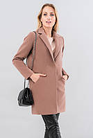 Женское утепленное пальто бежевого цвета. Модель 19557, размеры 42-52