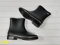 Ботинки резиновые модельные непромокаемые, стильные, удобные, демисезонная обувь