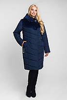 Куртка зимняя комбинированная плащевка и велюр Большие размеры от 46 до 60, фото 3