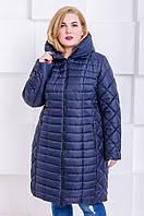 Женская стильная зимняя куртка размер плюс Флави темно-синий (54-64), фото 1