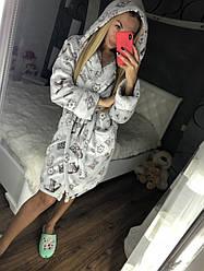 Женский теплый плюшевый халат с капюшоном