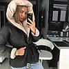 Пуховик зимний дутый с капюшоном воротником и поясом, фото 5
