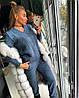 Костюм женский теплый вязаный штаны и кофта с вырезом , фото 4