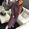 Пальто пуховик зимнее дутое с капюшоном длинное, фото 6