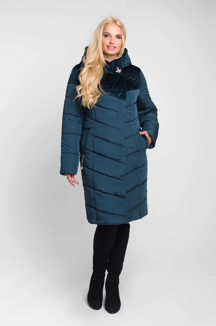 Куртка зимняя комбинированная плащевка и велюр Большие размеры от 46 до 60