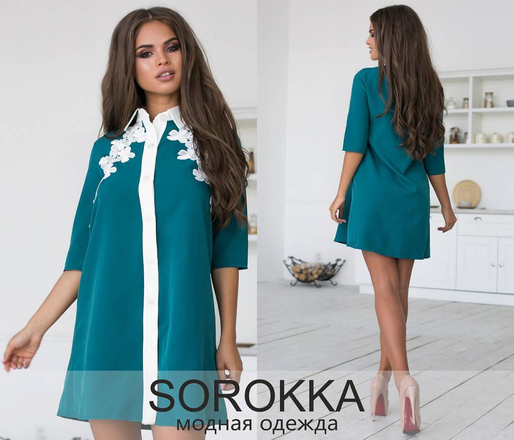 Короткое платье с рубашечным воротником, декорировано кружевом / 2 цвета  арт 6966-594