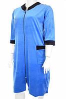 Халат женский велюровый голубого цвета