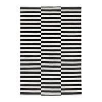 STOCKHOLM  Ковер, безворсовый, в полоску черный, белый с оттенком