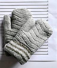 Детские шерстяные варежки на меху для девочек - длина 15 см, фото 3