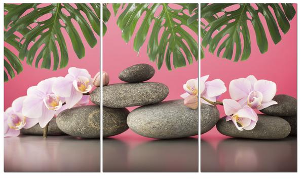 """Картина на стекле """" Цветы и камни на розовом"""""""