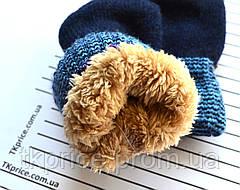 Детские шерстяные варежки на меху для мальчиков- длина 16 см, фото 2