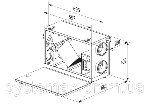 Схема габаритных размеров Вентс ВУТ 300 Г мини ЕС Комфо