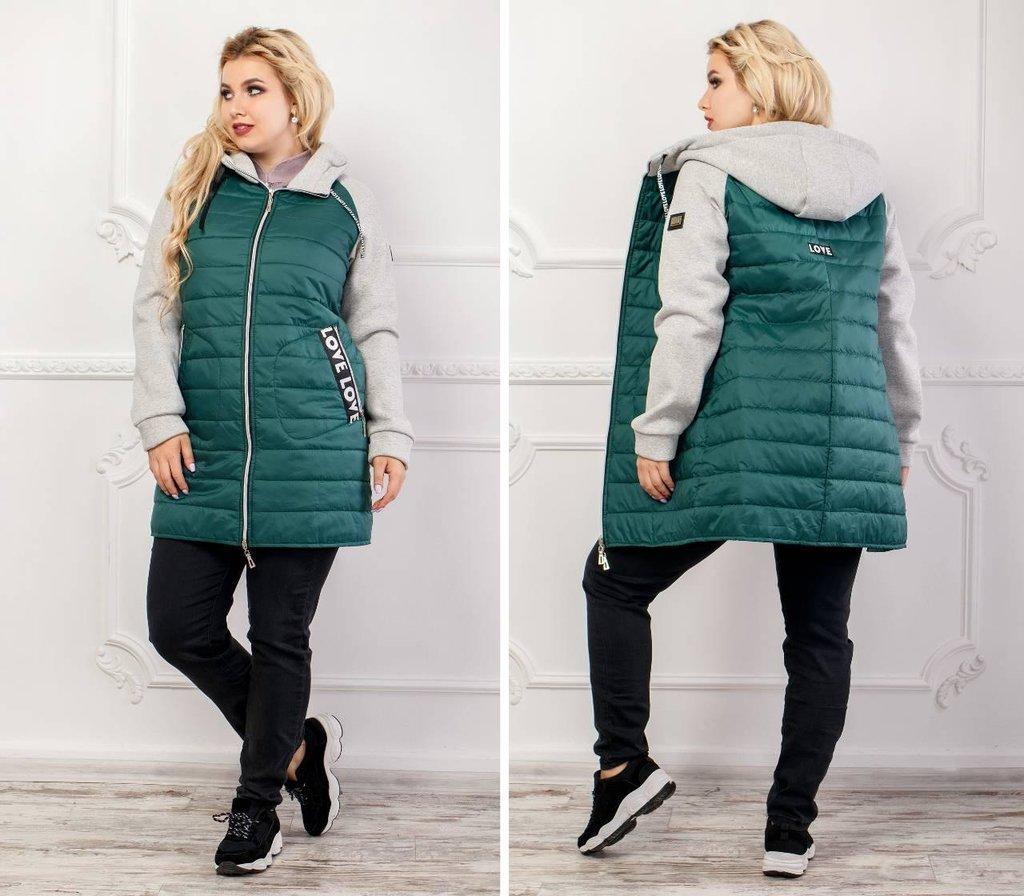 Ветровка куртка Madame Green демисезонная удлиненная с трикотажными рукавами и капюшоном р-ры 50-58