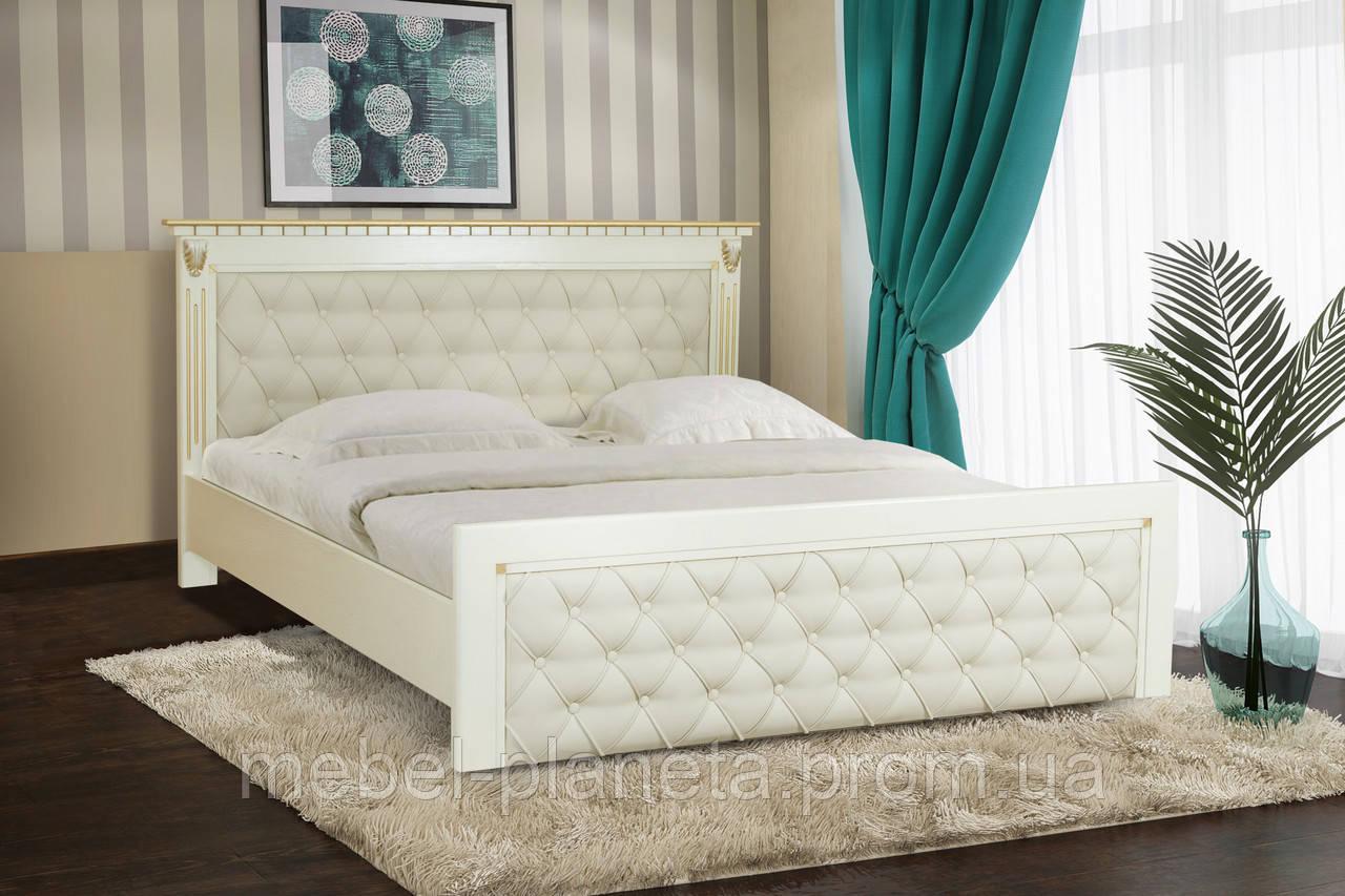 Кровать двуспальная с мягким изголовьем Фридом