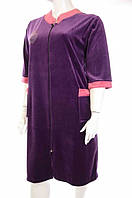 Халат женский велюровый фиолетовый