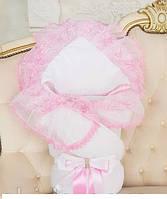 """Зимний роскошный конверт-одеяло """"Волшебство"""" для новорожденной девочки. Цвет белый с розовым кружевом, фото 1"""