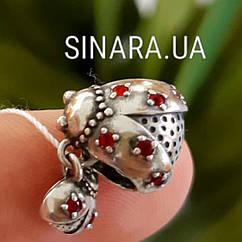 Серебряный подвес шарм Pandora  Божьи Коровки - Шарм Пандора Божья коровка