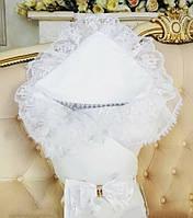 """Зимний роскошный конверт-одеяло """"Волшебство"""" для новорожденных деток. Цвет белый, фото 1"""