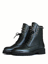 Кожаные ботинки берцы с заклепками