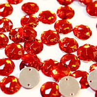 Пришивные акриловые стразы, цвет Red 10мм, 1шт