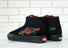 """Кеды высокие унисекс черные Vans SK8 """"Roses"""" (реплика), фото 2"""