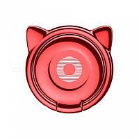 Кольцо-держатель Baseus Cat Ear для смартфона Red