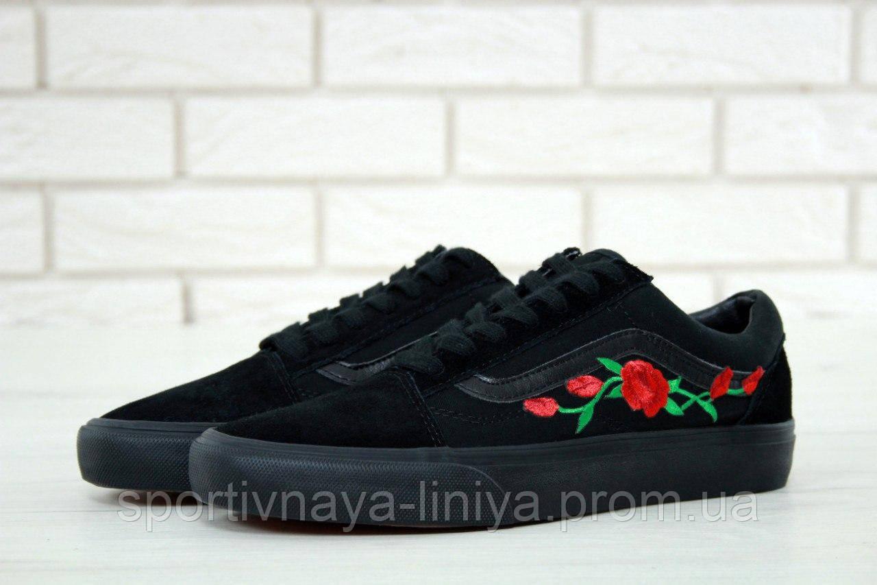Кеды унисекс черные Vans Old Skool Rose (реплика)