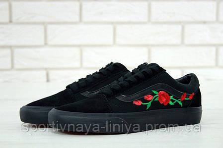 Кеды унисекс черные Vans Old Skool Rose (реплика), фото 2