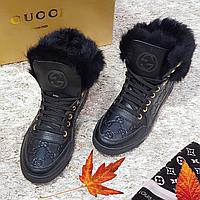 Стильные ботинки женские из натуральной кожи  на плоской подошве черные, фото 1