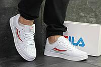 Кроссовки Fila мужские, белые с красным, в стиле Фила, материал-кожа, подошва-резина, код SD1-6380.