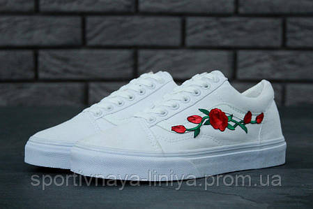 Кеды унисекс белые Vans Old Skool Rose (реплика), фото 2