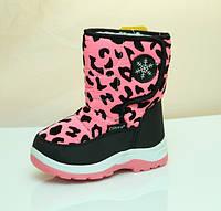 Детские дутики зимние сапоги на зиму для девочки розовые Clibee 23р.