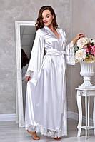 Длинный атласный халат для невесты Белый. Размеры от XS до ХL
