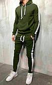Спортивный костюм с капюшоном и лампасами зеленый