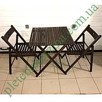Набор темной складной садовой мебели, стулья и стол из дерева Арт.773т