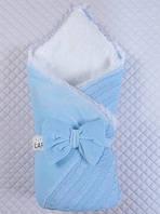 """Зимний велюровый конверт-плед """"Дуэт"""" на выписку из роддома. Голубой"""