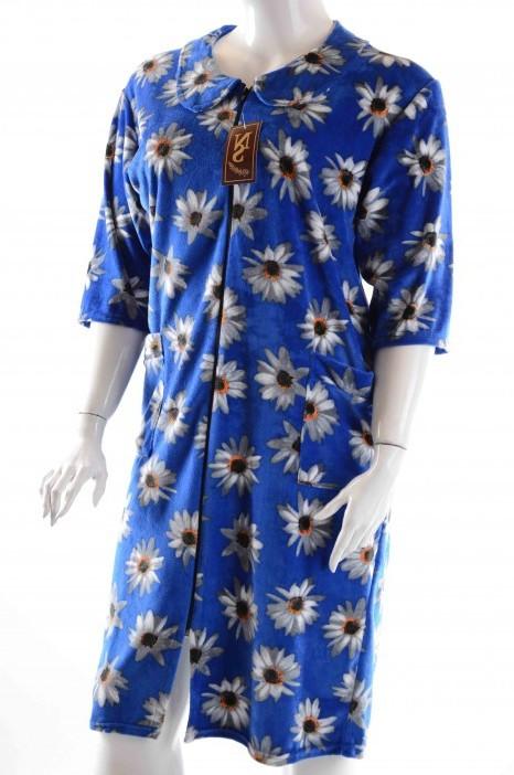 Халат женский велюровый с ромашками голубой