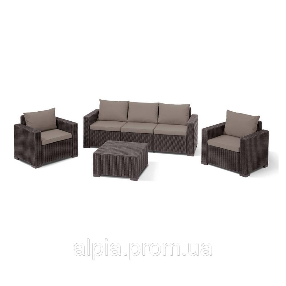 Набор мебели Allibert California 3 seater коричневый