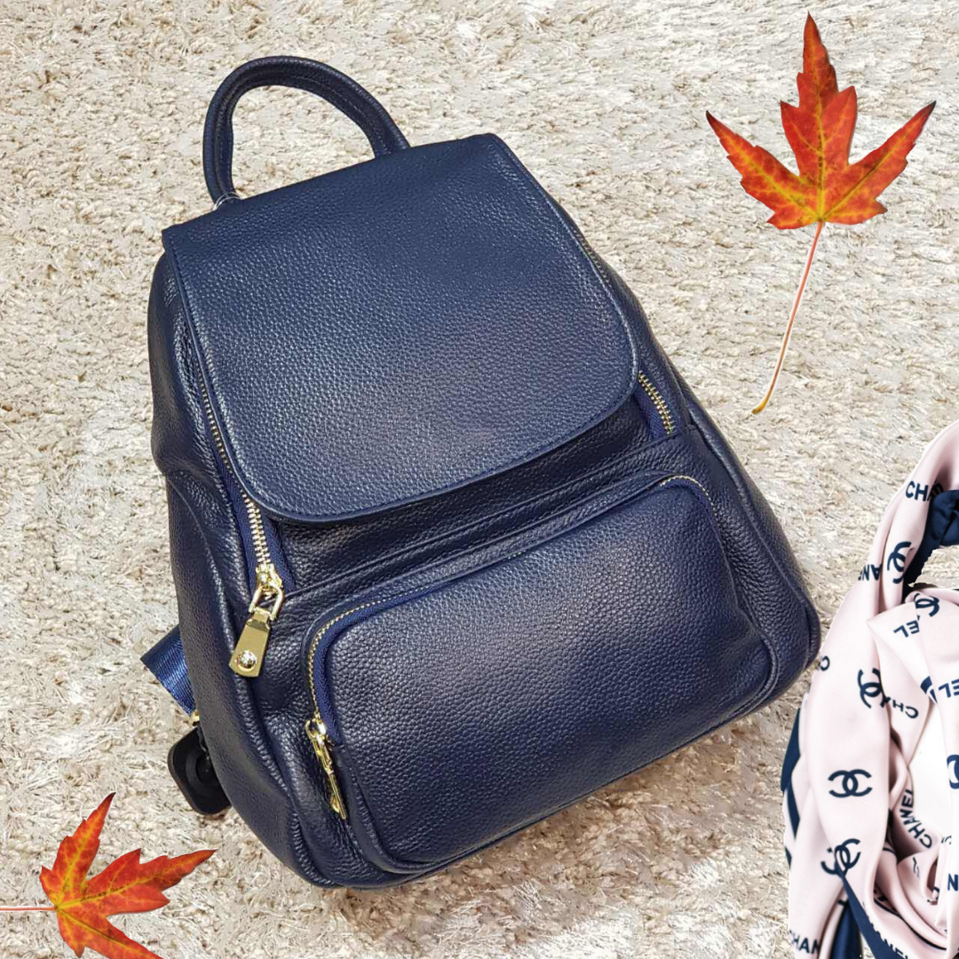 Женский рюкзак из натуральной кожи синий