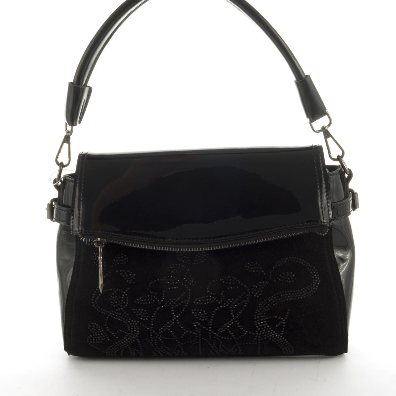 2663d46f5086 Оригинальная стильная прочная элегантная кожаная женская сумка с замшевой  вставкой SOLANA art. 335 черная
