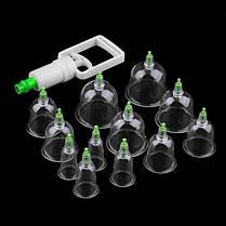 Набор вакуумных банок (12 штук) для массажа от целлюлита для домашней терапии | C насосом | Kang CI, фото 3