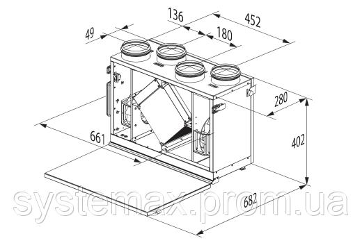 Схема габаритных размеров Вентс ВУТ 300 В мини ЕС Комфо