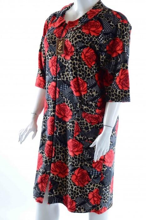Халат женский велюровый леопардовый с розами