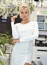 """Облегающее комбинированное макси-платье """"Волна"""" с разрезом и длинным рукавом, фото 3"""